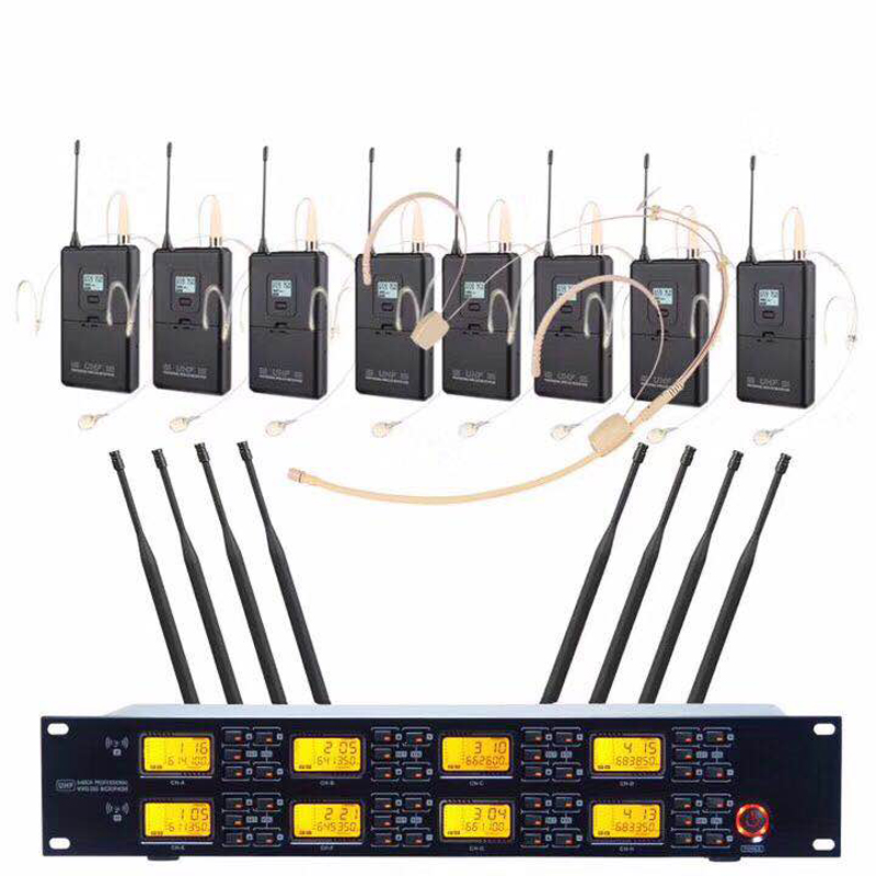 Sistema di Microfoni senza fili 8-Canale Dynamic Studio Microfono Senza Fili di Karaoke Del Partito KTV UHF Studio Microfono Palmare