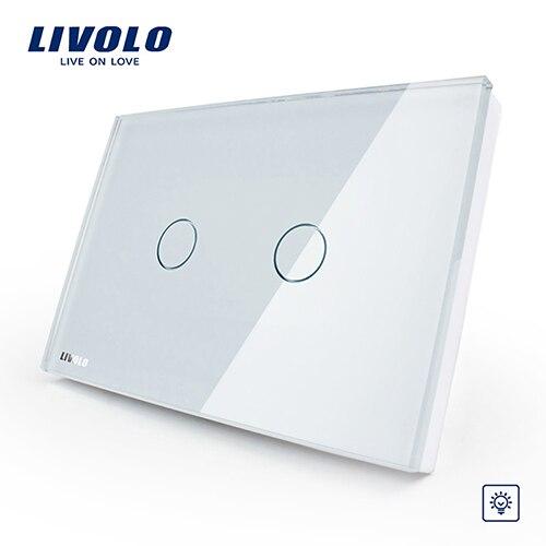 Livolo слоновая кость белый кристалл стеклянная панель, стандарт США/Австралии настенный выключатель, VL-C302D-81, диммер сенсорный домашний настенный светильник - Цвет: White