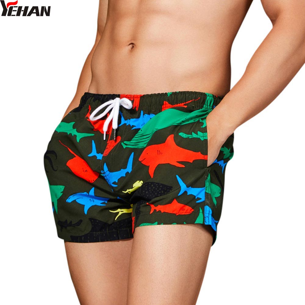 Yehan Men's Beach   Board     Shorts   Shark Printed Trunks Swimming   Short   Pants Swimsuits Men's Running Sports Surfing   Shorts   Homme