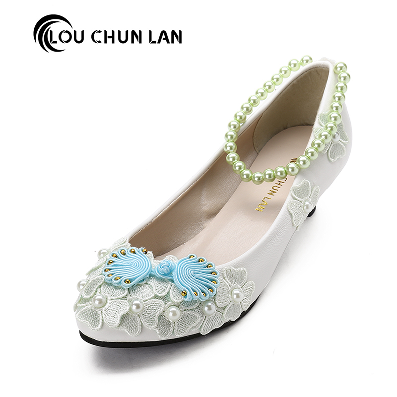 LOUCHUNLAN adult flats Wedding Shoes lace ballet flats Womens Shoes appliques Free Shipp ...