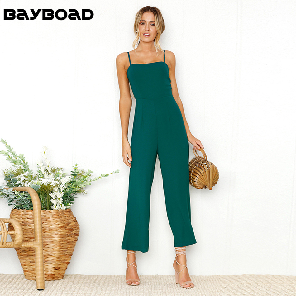 Bayboad Hot Sale Solid Color Summer 2019 Spaghetti Strap Strapless Casual Long Home Jumpsuit Overalls for Women with Open Back
