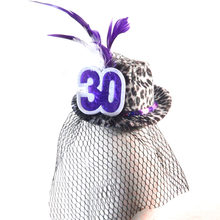 2018 New design fashion purple leopard Fedora hat birthday princess novelties anniversary adult happy birthday party favors(China)