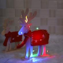 LED Christmas tree wooden cute elk plush decoration holiday party home desktop HOYVJOY