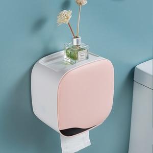 Image 2 - Wall Mount Toilet Paper Holder Shelf Tissue Box Waterproof Toilet Paper Tray Roll Paper Tube Bathroom Storage Box Organizer