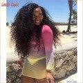 Самые Красивые Афро Кудрявый Вьющиеся Полные Парики Шнурка Бразильского Виргинские человеческие Волосы Афро Кудрявый Вьющиеся Полные парики Шнурка Glueless 150 плотность