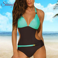 Shieny 2018 Sexy Women Summer One-piece Swimsuit Contrast Block Halter Backless Beach Swimwear Bathing Suit Monokini Swimsuit