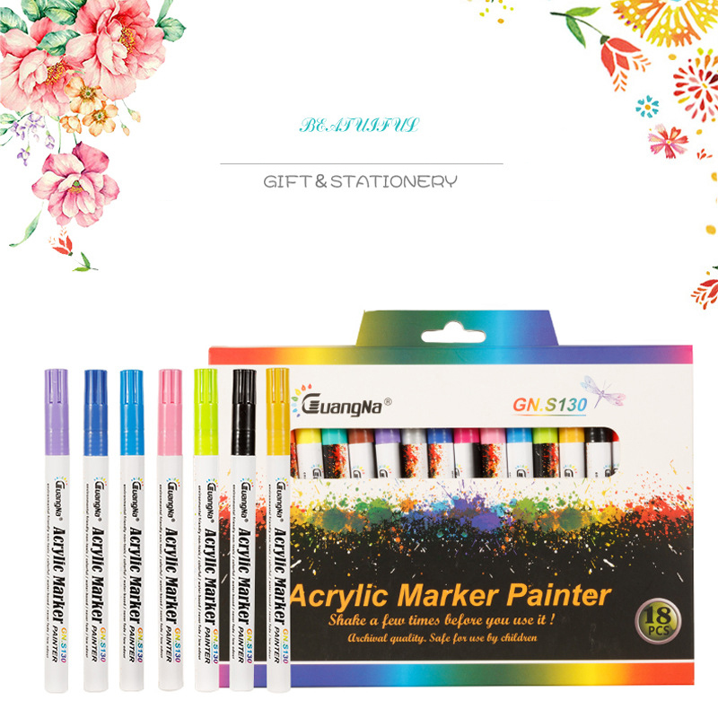 12/18 Colors 0.7mm Acrylic Paint Marker Pen Art Marker Pen For Ceramic Rock Glass Porcelain Mug Wood Fabric Canvas Painting