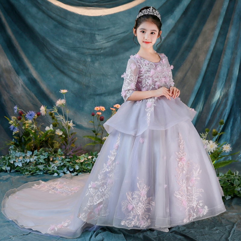 2018 New Children Girls Children Birthday Wedding Party Ball Gown Long Trailing Dress Kids Model Show Performance Pageant Dress 4pcs new for ball uff bes m18mg noc80b s04g