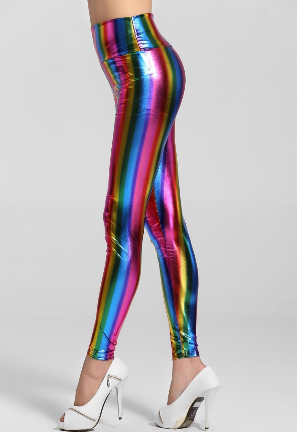 2018 women pants Sexy Ladies Shine Colorful Empire Waist Fluorescent Rainbow Print Leggings Fitness LC79360