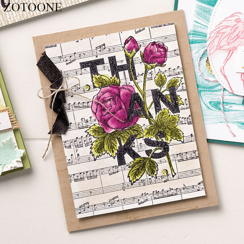 ZOTOONE Vintage Flower Carimbo Rubber Stamps For Card