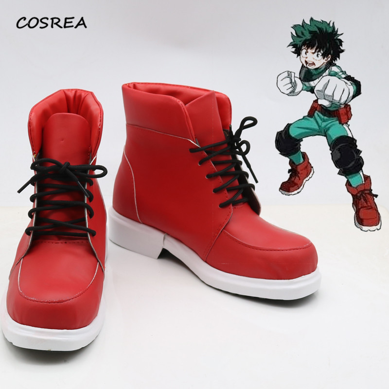Boku No Hero Academia Shoes Izuku Midoriya Cosplay Costumes Anime My Hero Academia Red Boots Halloween  Party Props Customize
