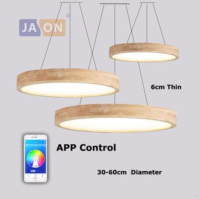 LED Modern Wood Iron Acryl 6cm Thin APP Control 2 In 1 Chandelier.Chandelier Lighting LED Light LED Lamp For Dinning Room