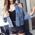 Senhoras Sexy Turn-down Collar Top Curto calças de Brim Revestimento Das Mulheres Off-ombro Nova Moda Short Slim Jaqueta Jeans Roupas casaco Desgaste