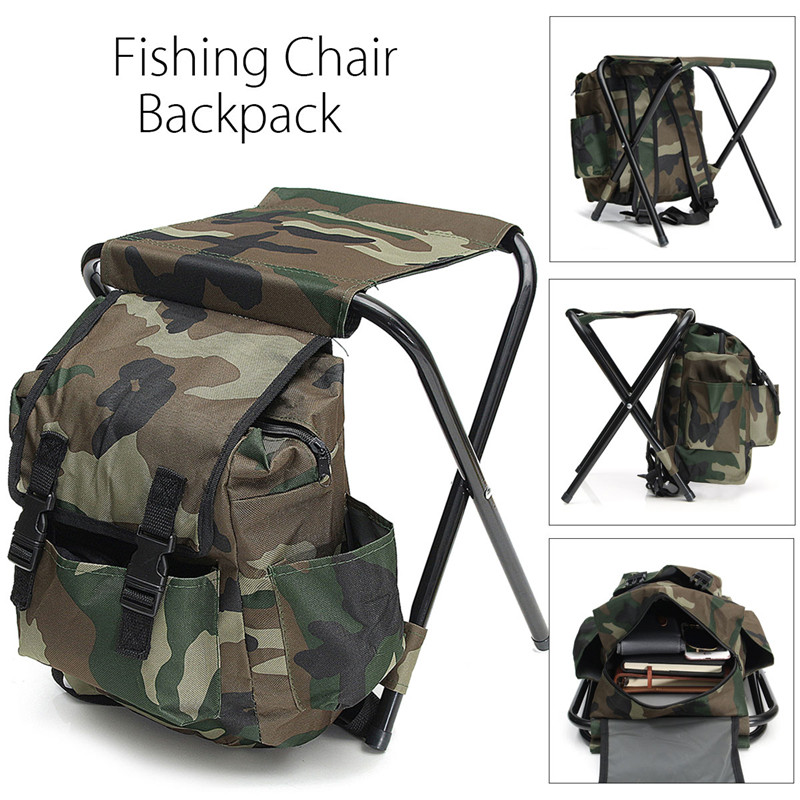 Foldable Fishing Chair Backpack Camouflage Oxford Cloth&Metal Tube Portable Fishing Equipment Bifunctional Fishing Bag And Chair camouflage outdoor fishing chairs bag foldable 600d oxford peva waterproof layer cool fishing bag multifunctional sport backpack