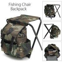Foldable Fishing Chair Backpack Camouflage Oxford Cloth&Metal Tube Portable Fishing Equipment Bifunctional Fishing Bag And Chair