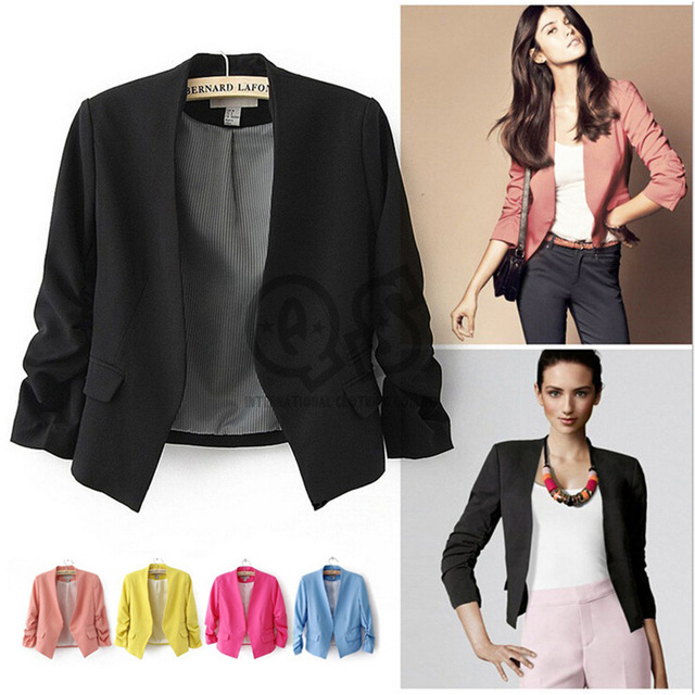 2016 Spring Autumn Style Office Blazer Feminino Fashion Short Women's Blaser Pink Elegant Suit Jacket