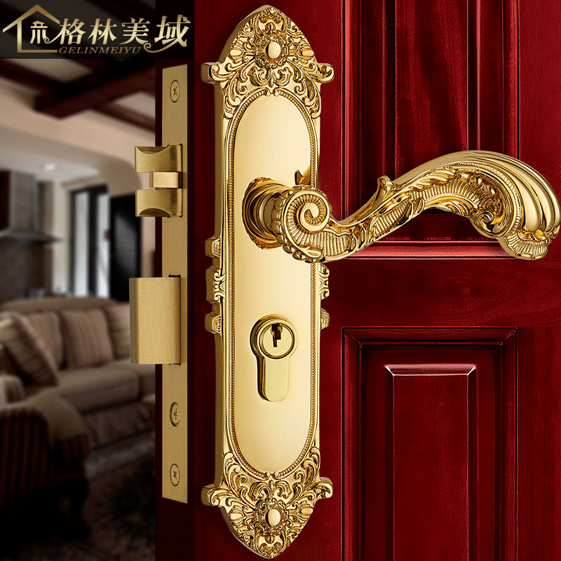 все цены на European door lock pure copper antique interior door lock full copper solid wood door lock villa bedroom door lock
