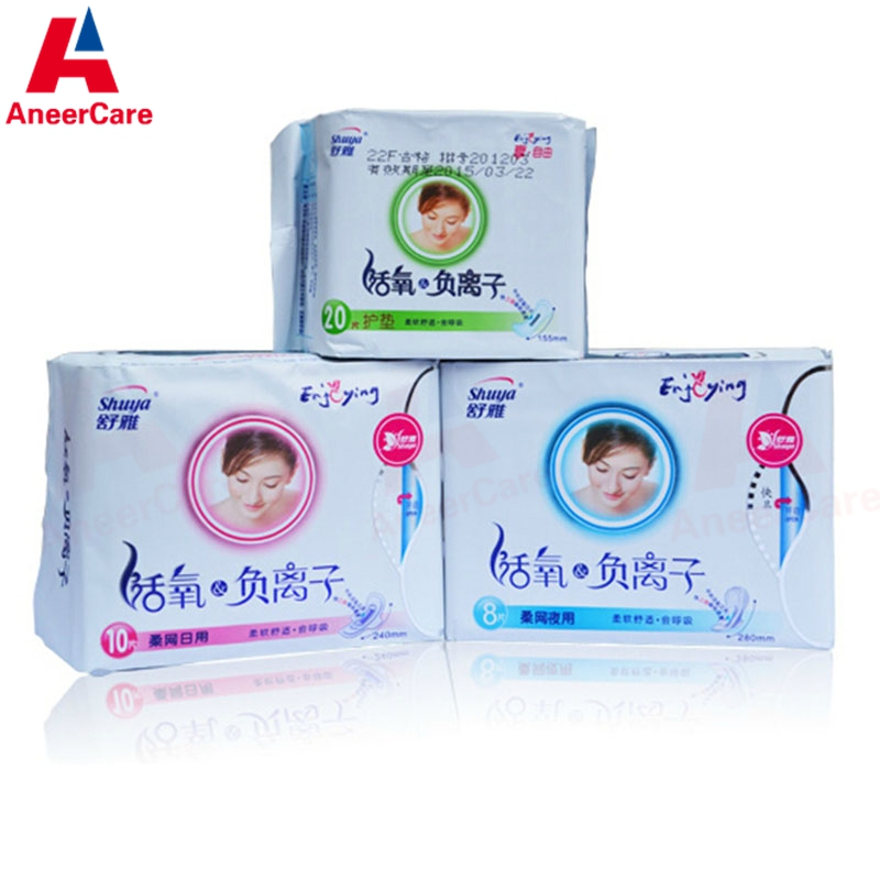3Packs/lot Shuya Anion Sanitary Pads 100% Cotton Don`t Add Fluorescent Agent Anion Pads Safety Eliminate Bacteria Menstrual Pads