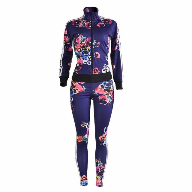 New Fashion print  two piece Tracksuitspant and top Casual sexy women jacket Long sleeve ensemble femme 2 piece set women