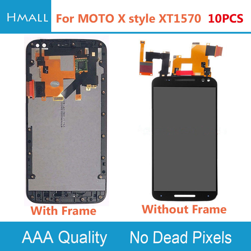 10PCS LCD Display For Motorola Moto X Style LCD Screen Touch Screen with Digitizer with Frame Assembly Replacement Black/White lcd screen assembly for apple iphone 4 4g lcd display touch screen digitizer pantalla with frame bezel replacement black white
