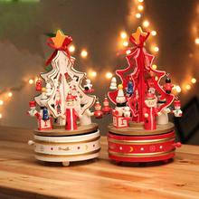 1Piece White or Red Rotating music christmas tree Christmas gift Xmas tree music box xmas indoor Decoration L45