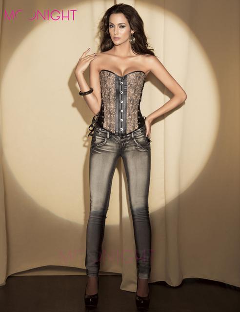 MOONIGHT Sexy Brown Brocade y Cuero De Imitación Ropa Steampunk Corset vestido de Encaje Hasta Bustier Top Sml XL 2XL