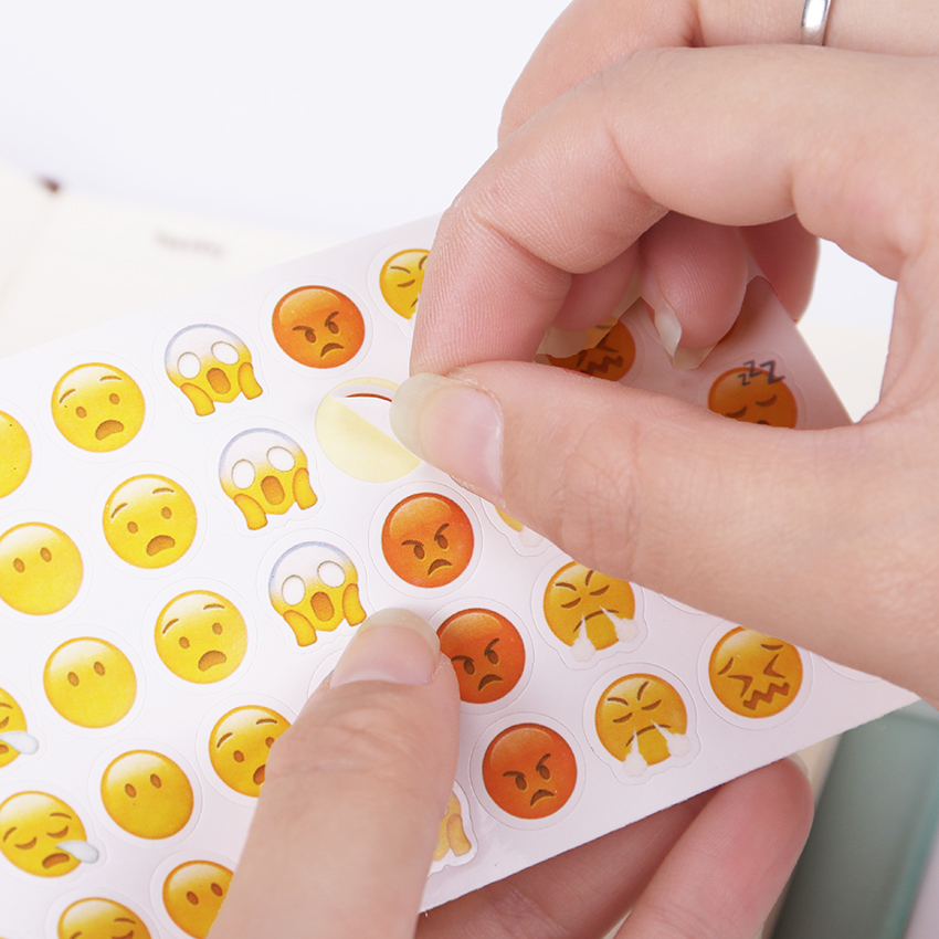 12 Sheets(660pcs) Emoji Smile Face Diary Stickers DIY Kawaii Scrapbooking Mini Stationery Sticker Office School Supplies