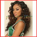 150% density  two tone full lace wig ombre color #1b/#4 loose curl Virgin Brazilian glueless full lace human hair wigs