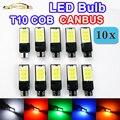 10 x T10 194 de Error Del Coche Libre CANBUS W5W COB LED bombillas CAN BUS Luces Blanco Rojo Verde Azul Amarillo Color de Auto lámparas
