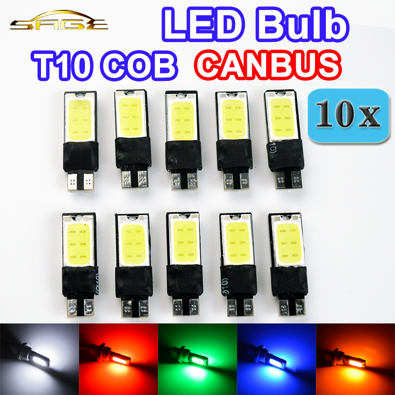 flytop 10 x W5W COB CANBUS T10 194 Error Free Car LED Bulbs CAN BUS Lights White Red Green Blue Yellow Color Auto Lamps 4pcs super bright t10 w5w 194 168 2825 6 smd 3030 white led canbus error free bulbs for car license plate lights white 12v