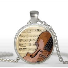 New sale Violin Necklace Musical Instrument Jewelry Glass cabochon Necklace Violin pendant at birthday gift to girl  A-088-1 HZ1