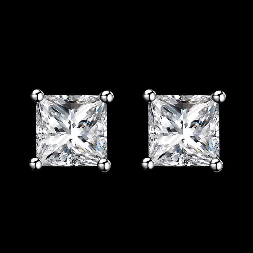 LEKANI 925 เงินสเตอร์ลิงสตั๊ดต่างหูผู้หญิงผู้ชายคริสตัล 5 มม. 6 มม. 7 มม. 8 มม. 4 Claw princess Cut CZ KLTE003