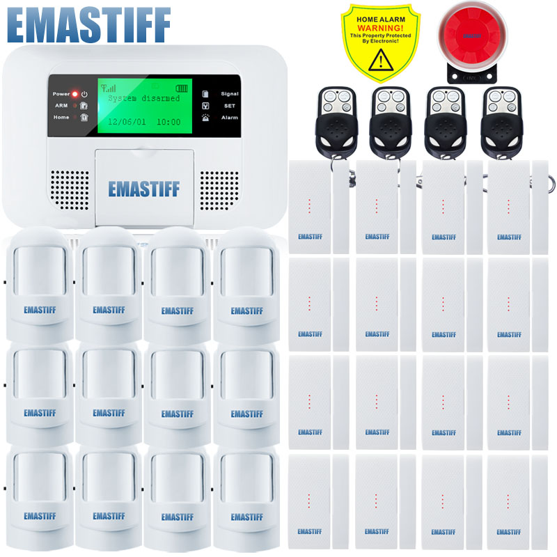 Free Shipping!Spanish English Wireless 433MHZ DIY GSM SMS Home Security Alarm System Burglar Alarm Systems LCD Keyboard Display wireless pager system 433 92mhz wireless restaurant table buzzer with monitor and watch receiver 3 display 42 call button