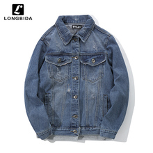 New Fashion Bomber Jeans Jackets Men Loose High Street Patchwork Denim Jacket Casual Harajuku Streetwear