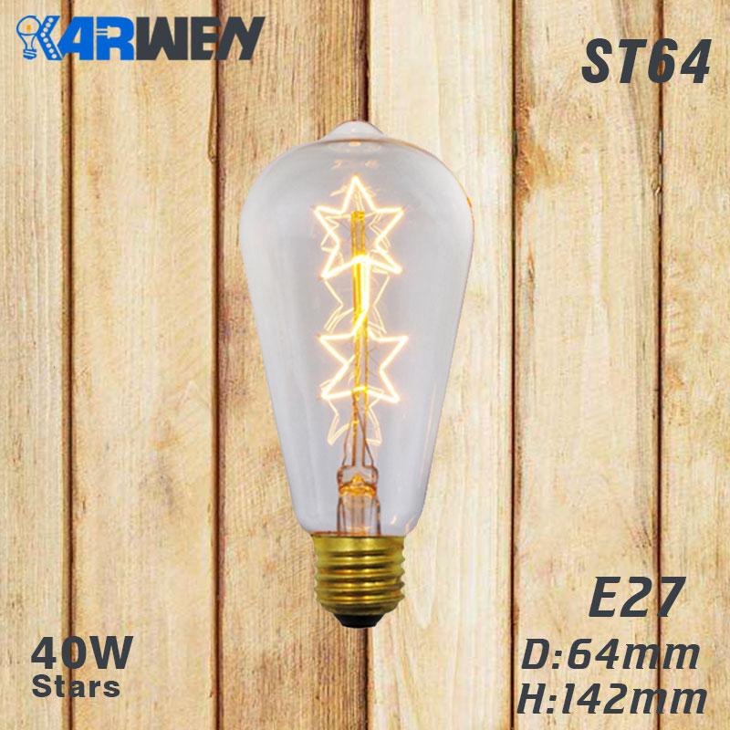 Эдисон лампы E27 40 Вт накаливания подвесной светильник в стиле ретро 220V ST64 A19 T45 T10 G80 G95 ампулы Винтаж лампа Эдисона лампа накаливания светильник лампочка - Цвет: ST64 star