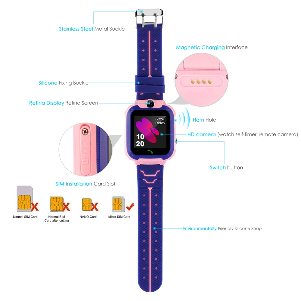 High Quality Newest Waterproof Tracker Smart Kids Child Watch Anti-lost SOS Call Smart Watch For iOS Android 21