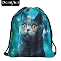 Deanfun 2017 mujeres mochila impresión bolsa de picnic mochila feminina bolso de lazo para hombre mochilas harajuku blue cat