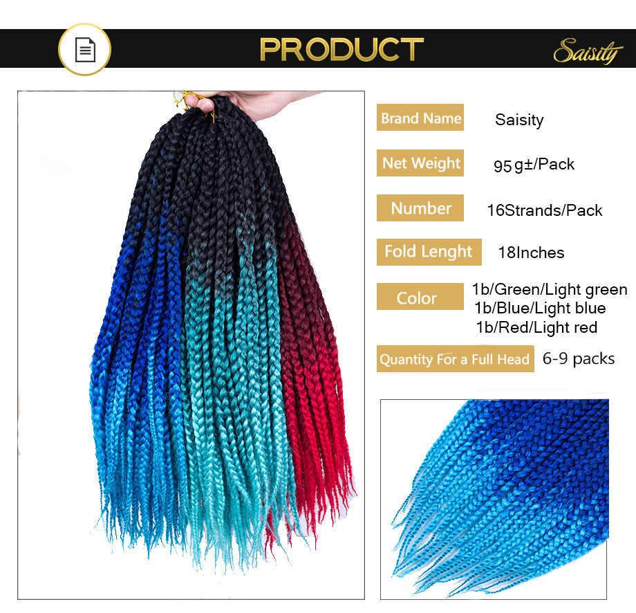 Saisity африканские 3s коробка косички крючком косички синтетические волосы для наращивания 18 дюймов черный зеленый синий красный Омбре плетение волос 95 г