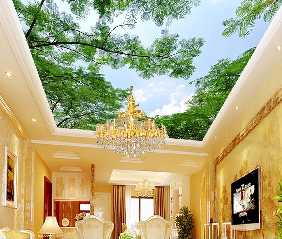 HD ciel arbre feuille plafond fonds d'écran pour salon Mural papier peint 3d décoration de la maison Non tissé papier peint