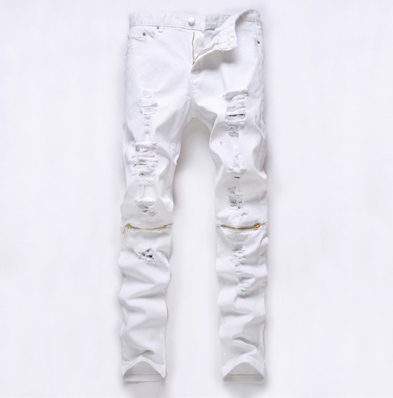 White Ripped jeans for men Superstar Skinny jeans Fashion Casual Slim fit Mens Biker jeans brand Hip hop Denim overalls pants red white mens stretch jeans slim fit ink printed street fashion skinny jeans men hip hop casual jogger pants male trouser brand