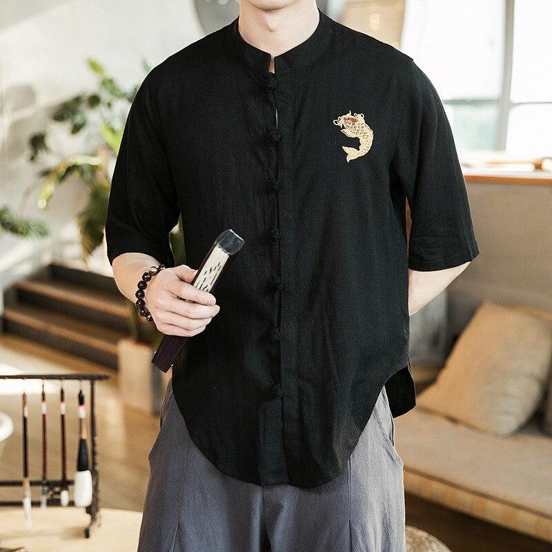 Alion Mens Long Sleeve Shirt Linen Button Down Tees Lapel Collar Summer Shirt