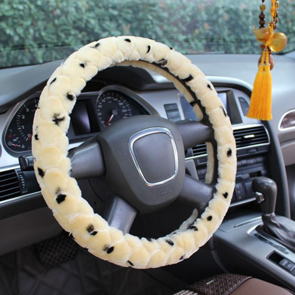 38cm Soft Warm Plush Winter Car Steering-Wheel Cover Universal Steering Wheel Cover Auto Supplies Cars Accessories