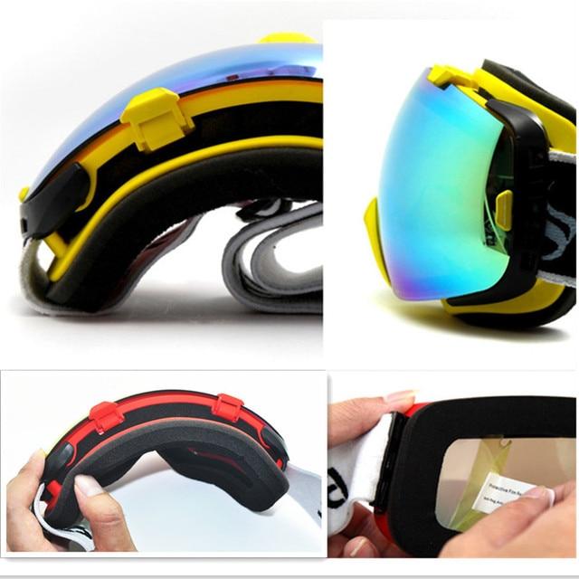 Lunettes de Ski Snowboard Double couche Anti-buée lentille grande Vision photochromique UV400 masque hiver neige motoneige Ski lunettes Gafas