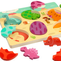 Wooden Puzzle Cartoon Dinosaur Eggs Puzzles Jurassic Park Dinosaur 3D Puzzle Children Early Learning&Educational Toys Boys Girls