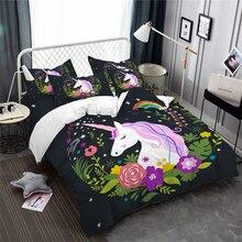 Dreamlike Unicorn Bedding Set Girls Sweet Cartoon Duvet Cover Multi-Color Flowers Print Bed Festival Gift Pillowcase