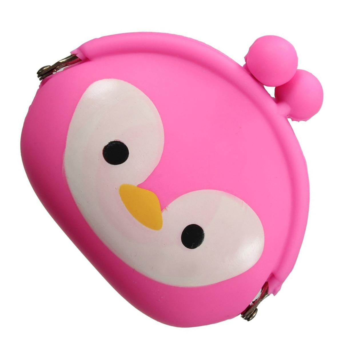 5pcs( ABDB-Women Girls Wallet Kawaii Cute Cartoon Animal Silicone Jelly Coin Bag Purse Kids Gift Penguin
