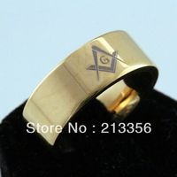 Free Shipping Buy Cheap Price Discount Jewel USA HOT Selling 8MM Men&Womens New Golden Pipe Masonic New Tungsten Wedding Rings
