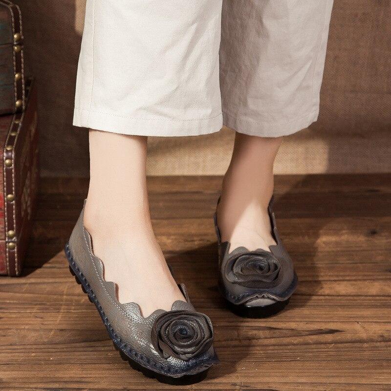 Loafer A gris Chino Mano Zapatos rojo Flor Vaca Primavera púrpura Flexible amarillo La 2018 Cuero Mujer Barco Pisos Marcas De Genuina Cosido Azul H8dxw6p