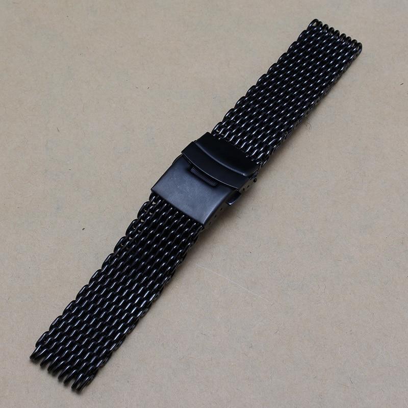 New arrivel shark Mesh Black Stainless steel Metal Watchbands fashion Watch Accessories Bracelet safety buckele 18mm 22mm 24mm