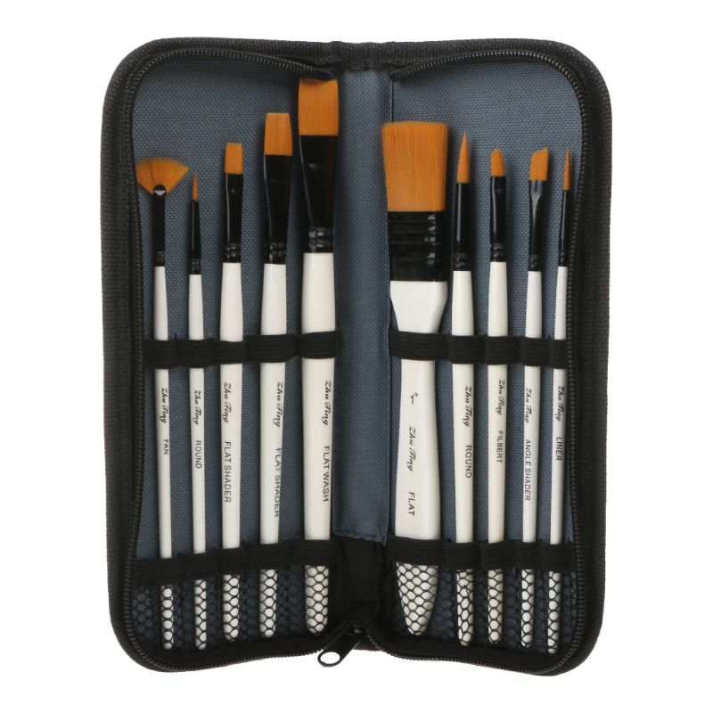10Pcs Nylon Hair Art Painting Brushes Set Acrylic Oil Watercolor Artists Paint Brush Set Drawing Supplies
